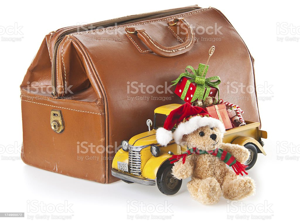 teddy bear toy truckchristmas gifts and doctors bag royalty free stock photo
