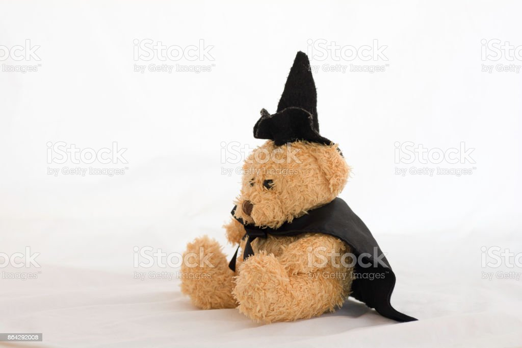 Teddy Bear with Black Hat and Black Wizard Dress, on white background . royalty-free stock photo