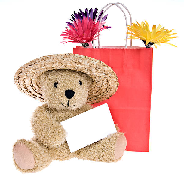 Teddy Bear with Blank Note Card Goes Shopping stock photo