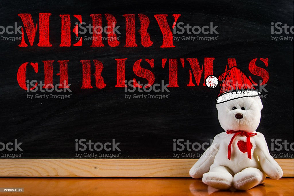 teddy bear with callout symbol and message 'merry christmas' stock photo