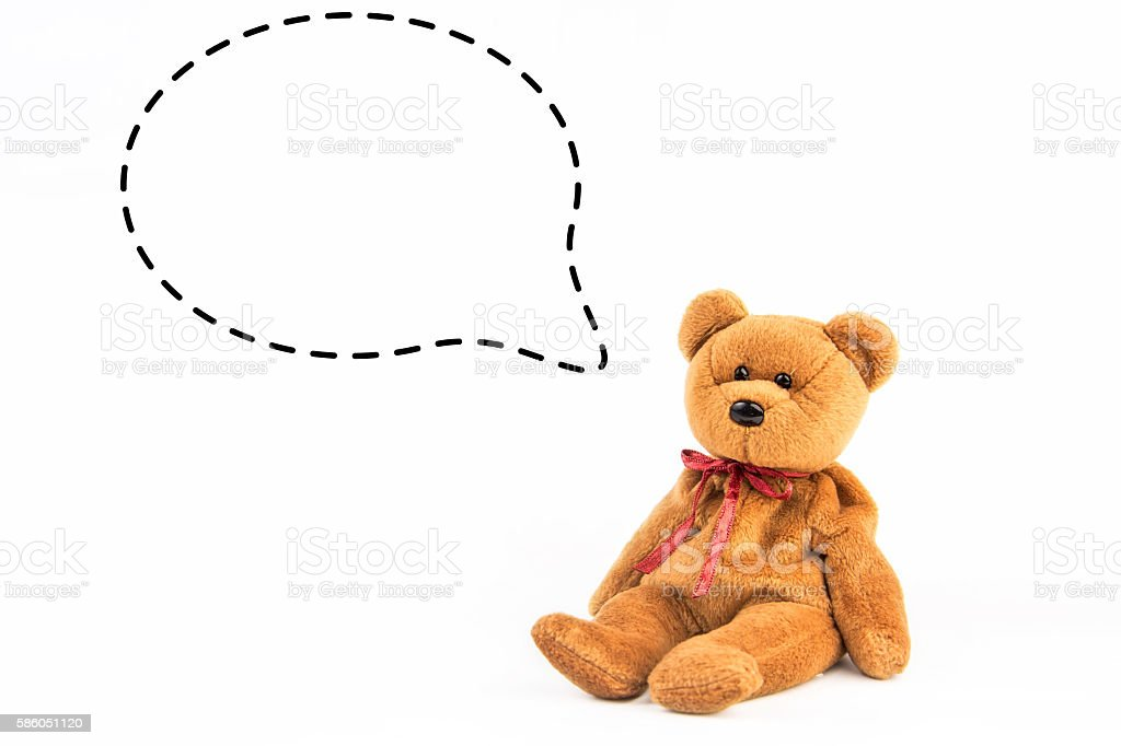 teddy bear  with callout  symbol on white background stock photo