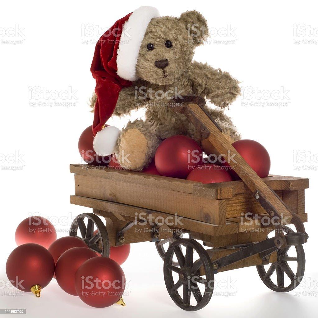 Teddybär mit Weihnachten Weihnachtsschmuck im Toy Wagon – Foto