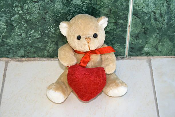 teddy bär mit herz in der natur - liebesbeweis für ihn stock-fotos und bilder
