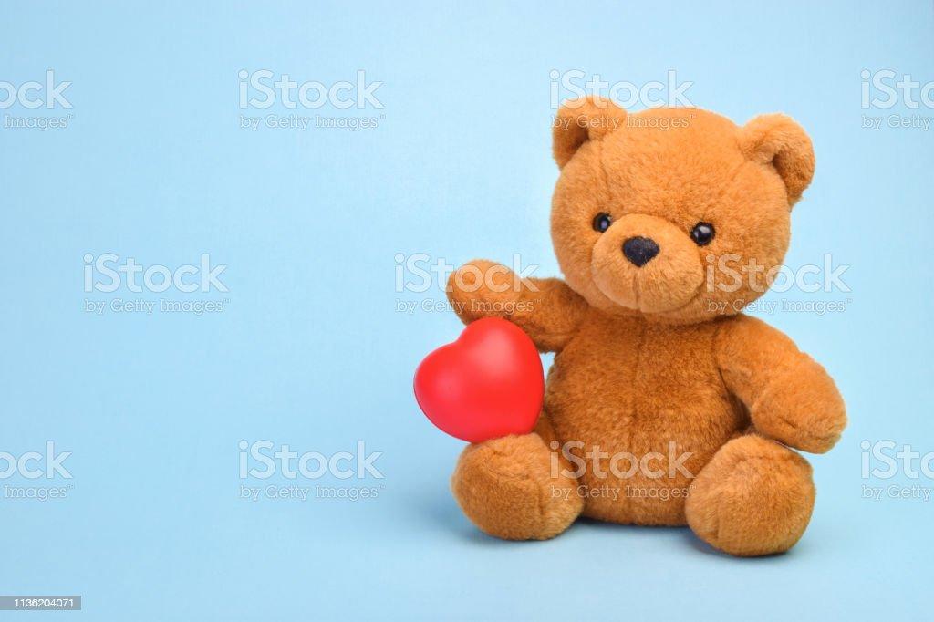 Teddy bear with heart love concept stock photo