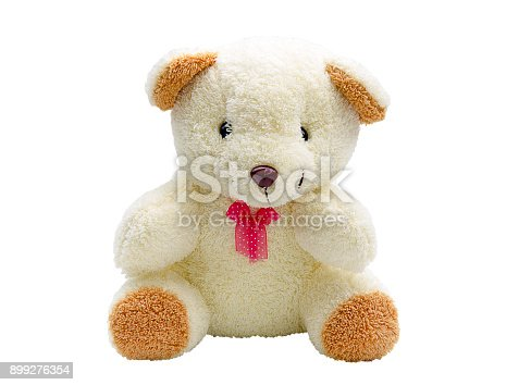 teddy bear with red bow isolated on white background