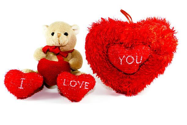 teddybär mit roten herzen - liebesbeweis für ihn stock-fotos und bilder