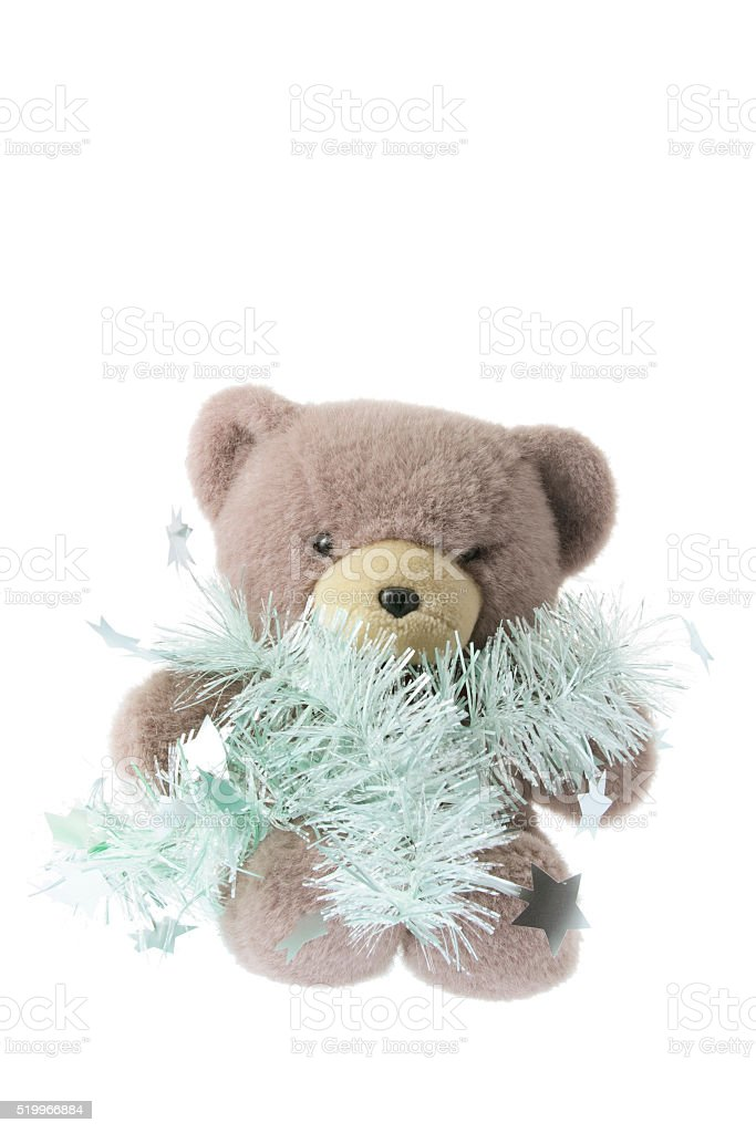 Teddy Bear with Tinsels stock photo