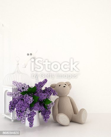 Teddy Bear With Vase Of Purple And Bird Cage In Kid Room For Artwork