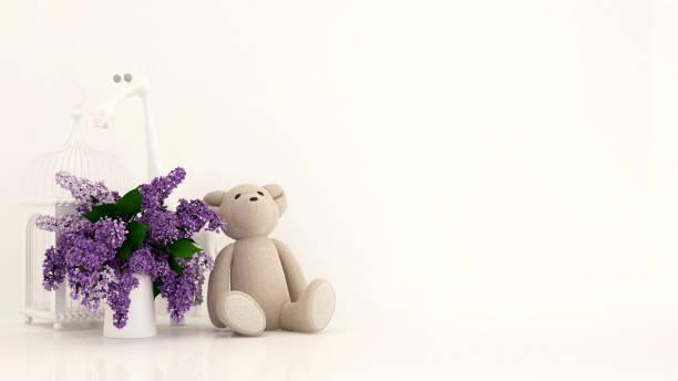 teddybär mit vase mit lila und vogel käfig in kind-raum für kunst - 3d rendering - lila, grün, schlafzimmer stock-fotos und bilder