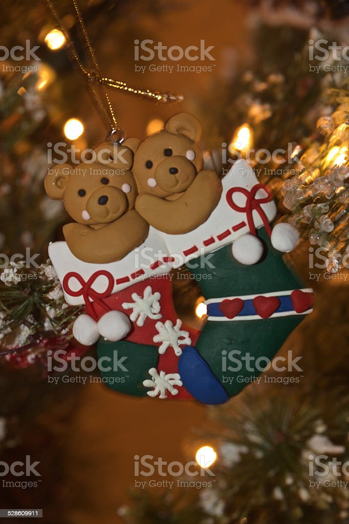 Teddy Bears in Christmas Stockings ornament stock photo