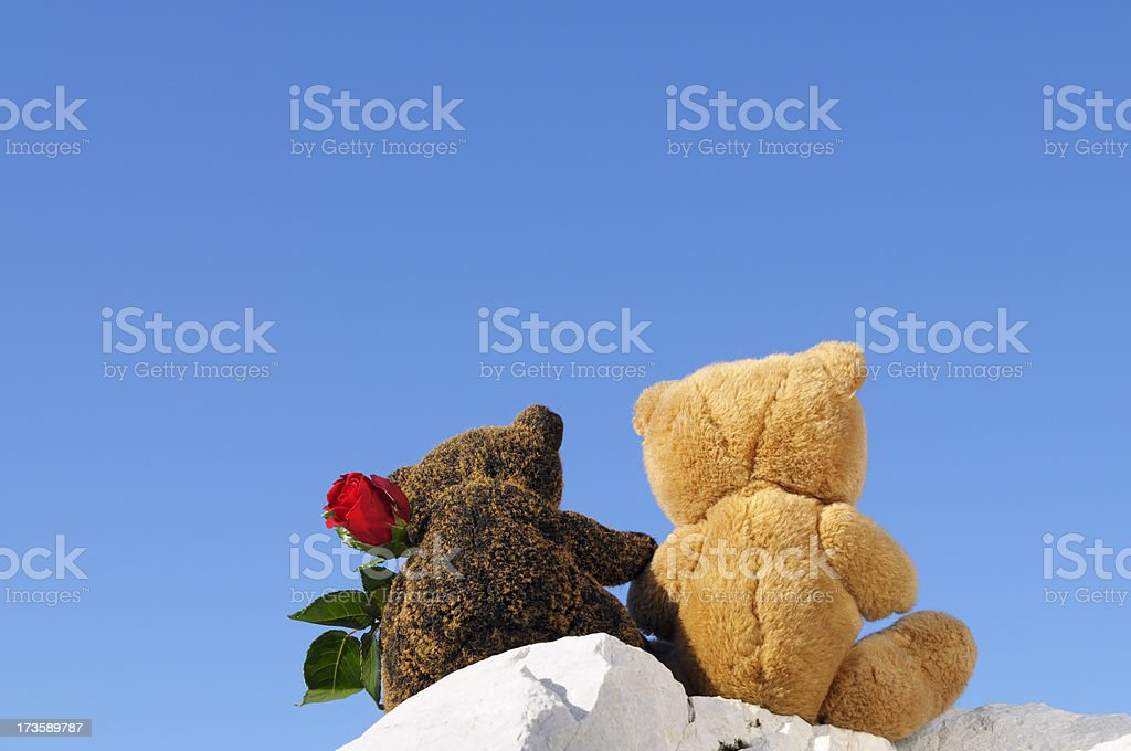 Teddy Bears in Love Holding Rose against Blue Sky royalty-free stock photo