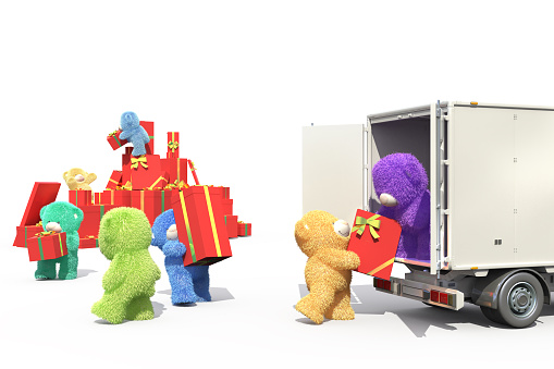 Colored bears charged with gifts