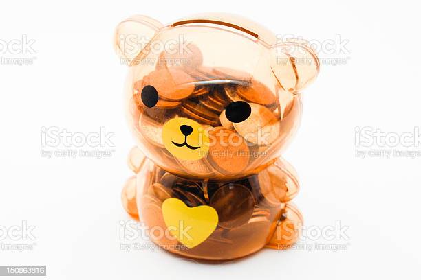 Teddy Coin Bank Stock Photo - Download Image Now