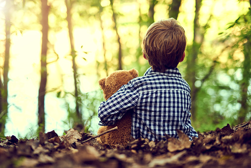 Shot of a little boy sitting in the forest with his teddy bear