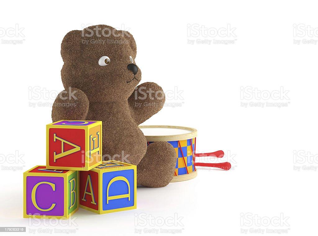 teddybear, building blocks, and drumb royalty-free stock photo