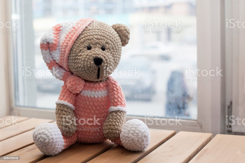 Teddybear Toy Knitted In The Technique Of Knitting Amigurumi Stock
