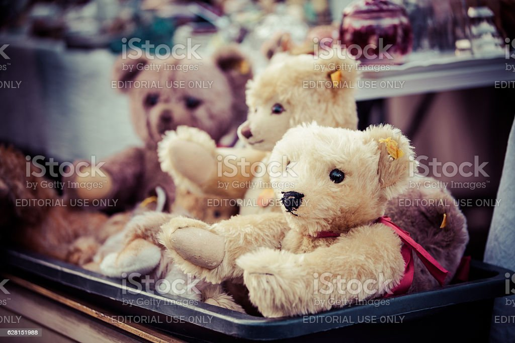 Teddybears at a flea market stock photo
