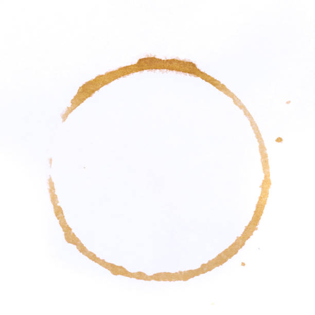 tee or coffee cup rings isolated on a white background tee or coffee cup rings isolated on a white background stained stock pictures, royalty-free photos & images