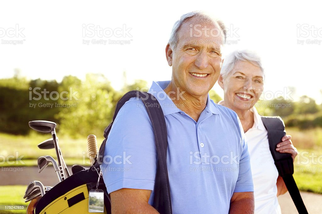 Teeing off together royalty-free stock photo