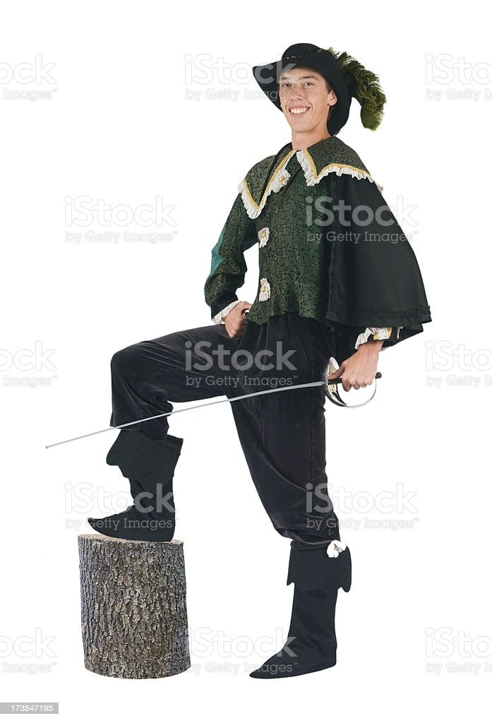 teen boy wearing a renaissance period halloween costume royalty free stock photo