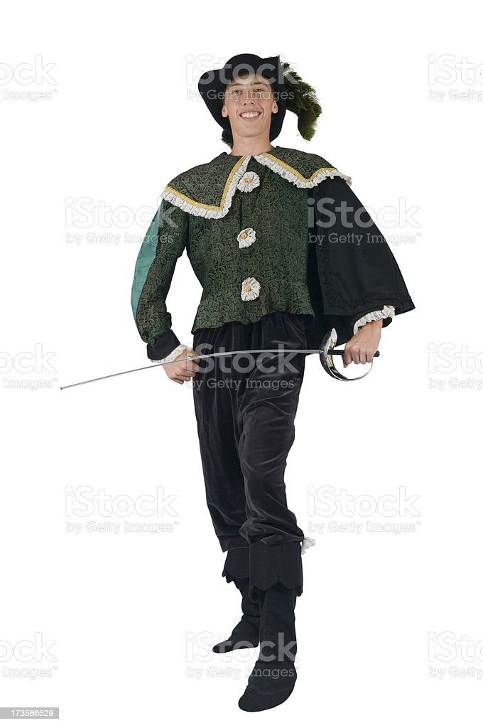 Teen Boy Wearing a Renaissance Period Halloween Costume royalty-free stock photo