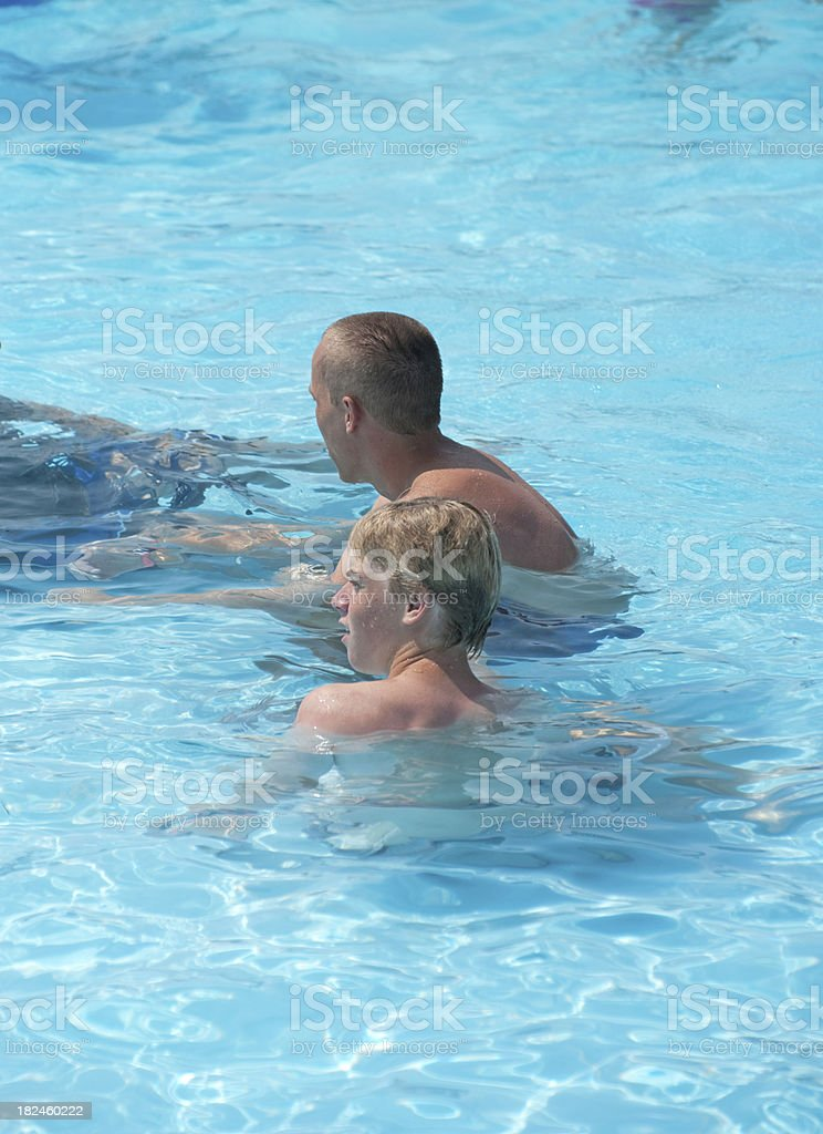 Teen Brothers in Pool royalty-free stock photo