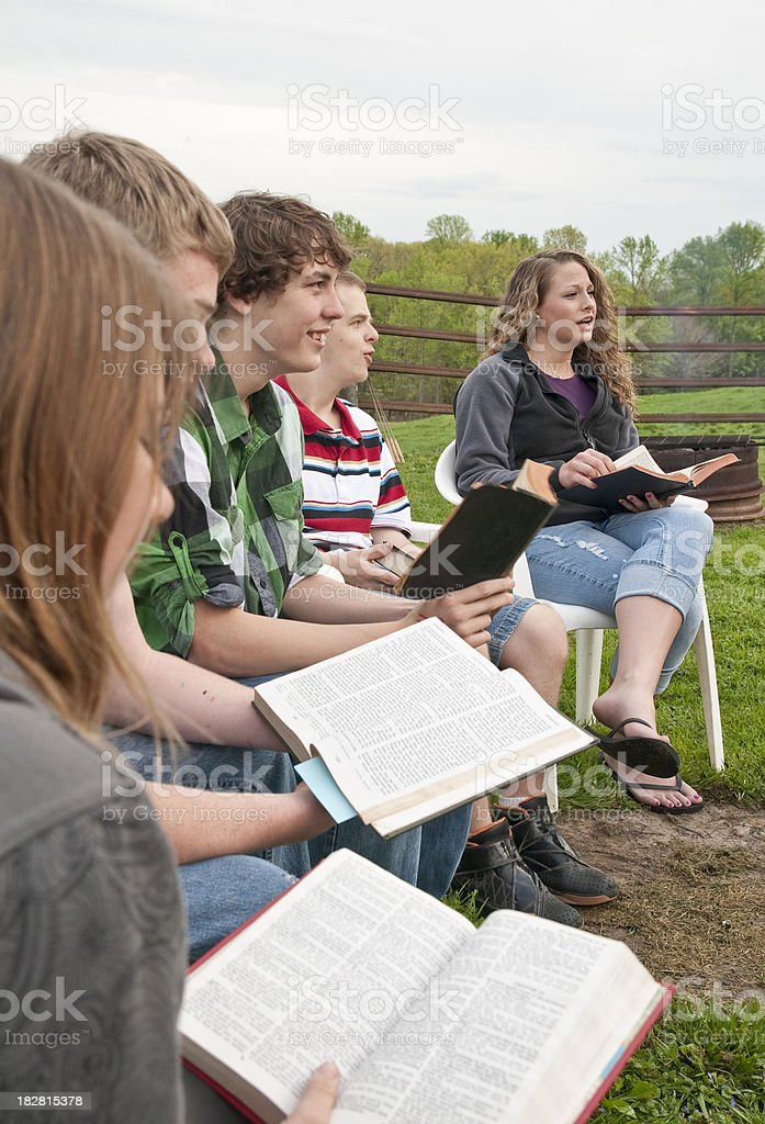 Teen Camp Devotions Up Close stock photo