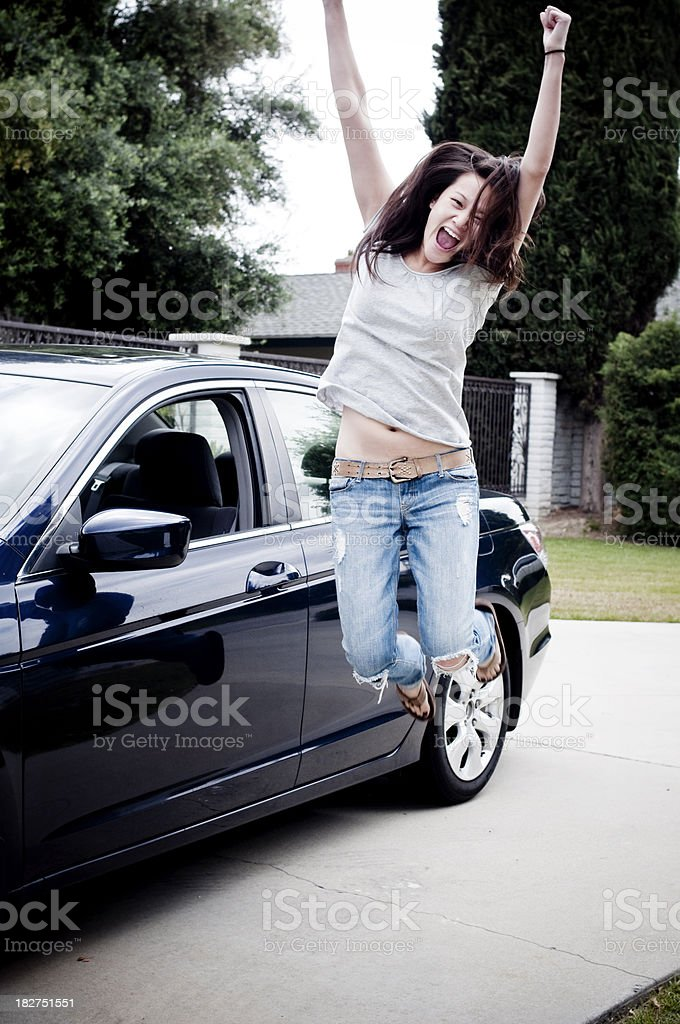 Teen car driver stock photo