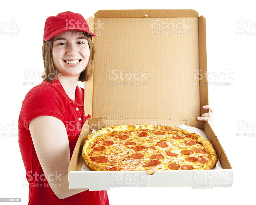 Teen Girl Delivers Pizza royalty-free stock photo