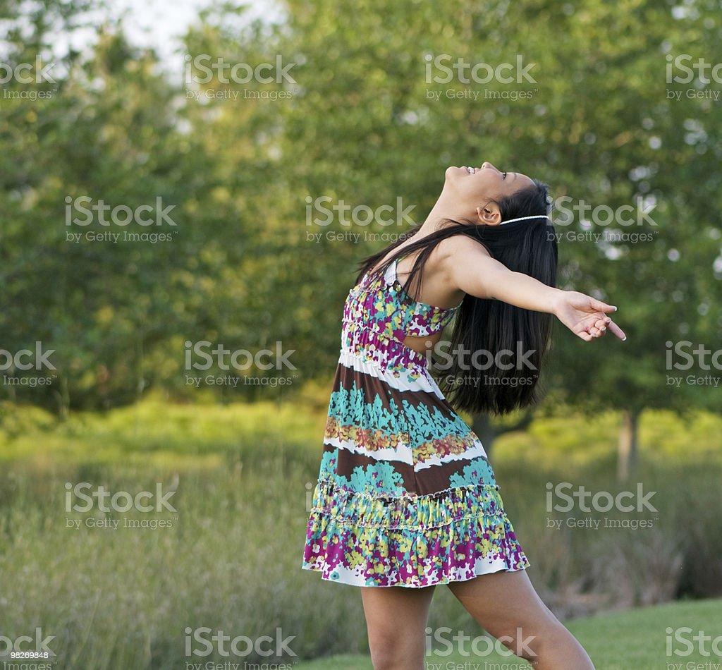 Teen Girl Expressing Outdoor Joy royalty-free stock photo