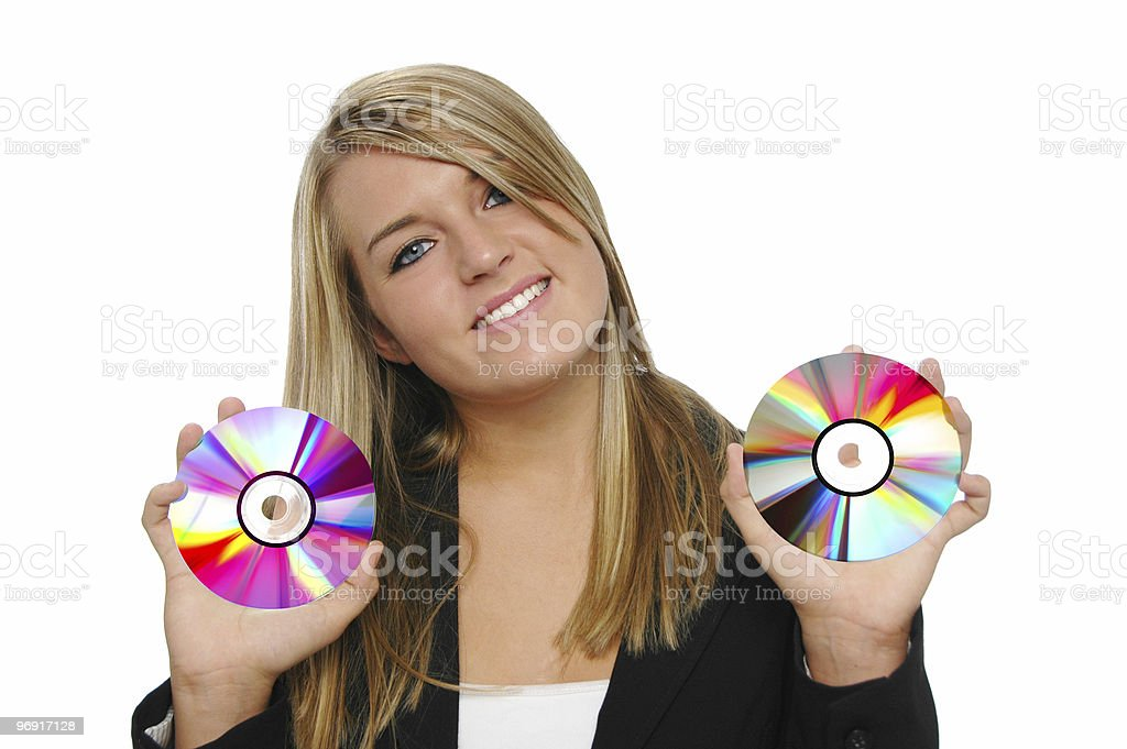 Teen girl holding CDs royalty-free stock photo