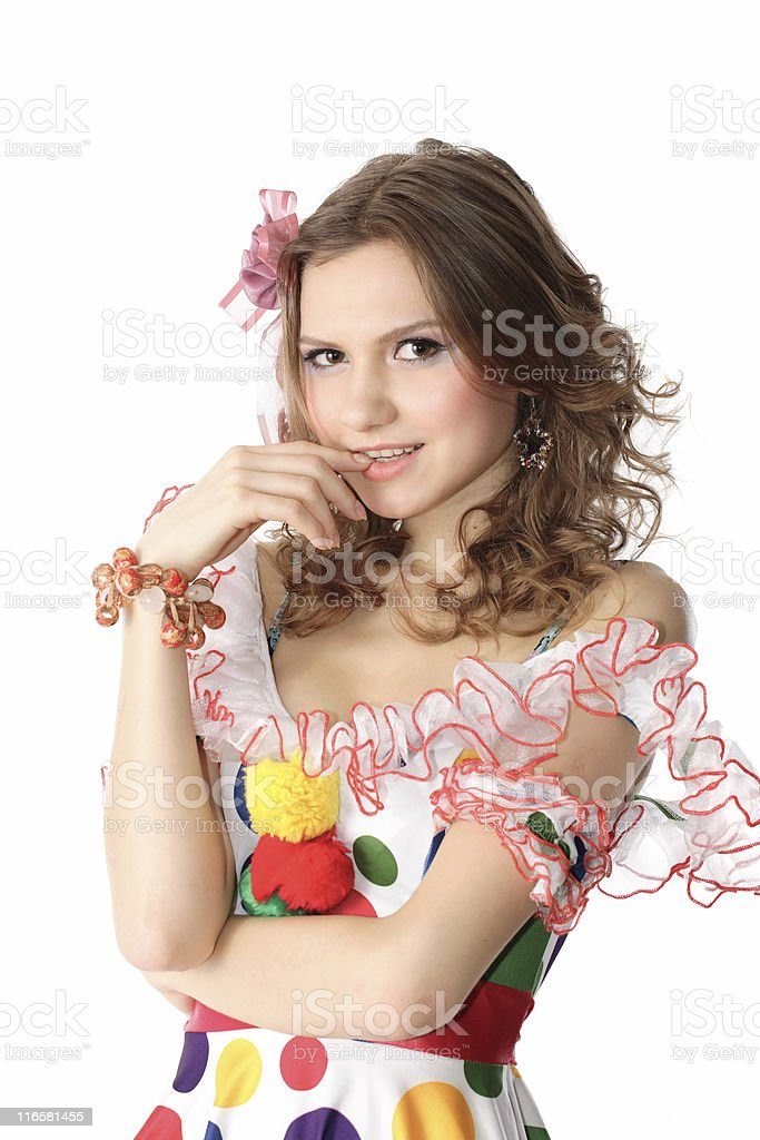 Teen girl in party dress stock photo