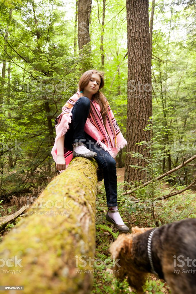Teen girl in the forest royalty-free stock photo