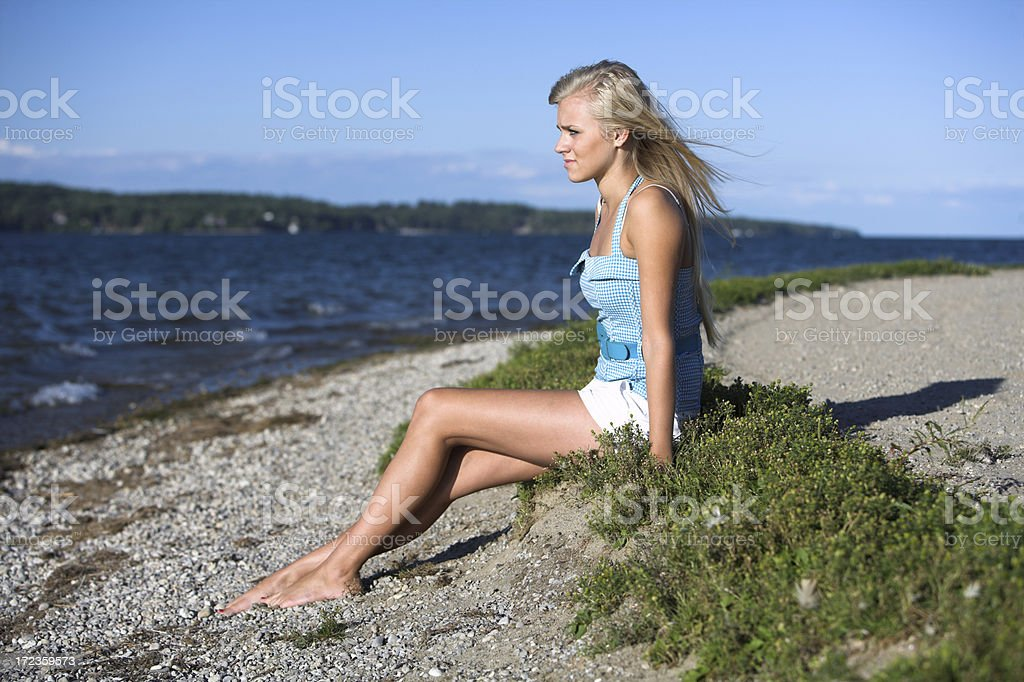 teen girl on a summers noche foto de stock libre de derechos