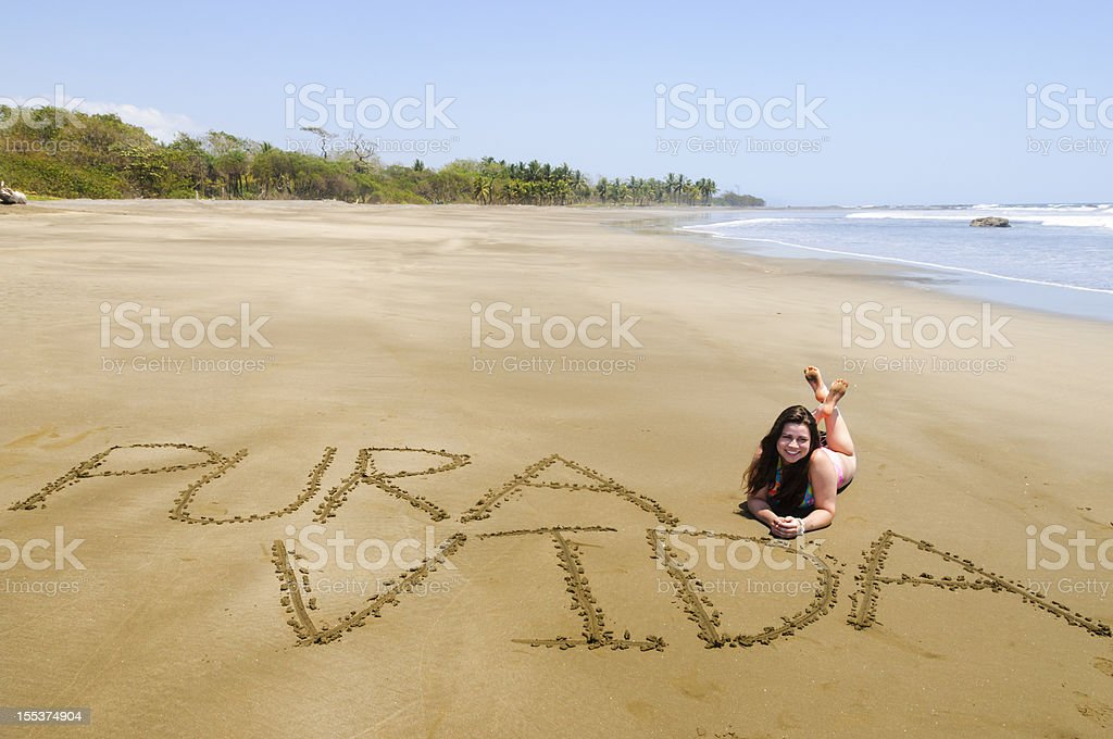 Teen girl on Costa Rican beach royalty-free stock photo