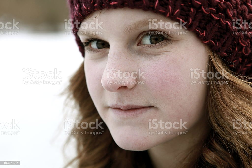 Teen Girl Outdoors in Winter royalty-free stock photo