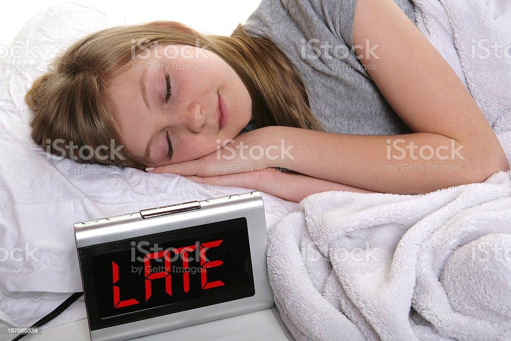 Garota adolescente Oversleeping - foto de acervo