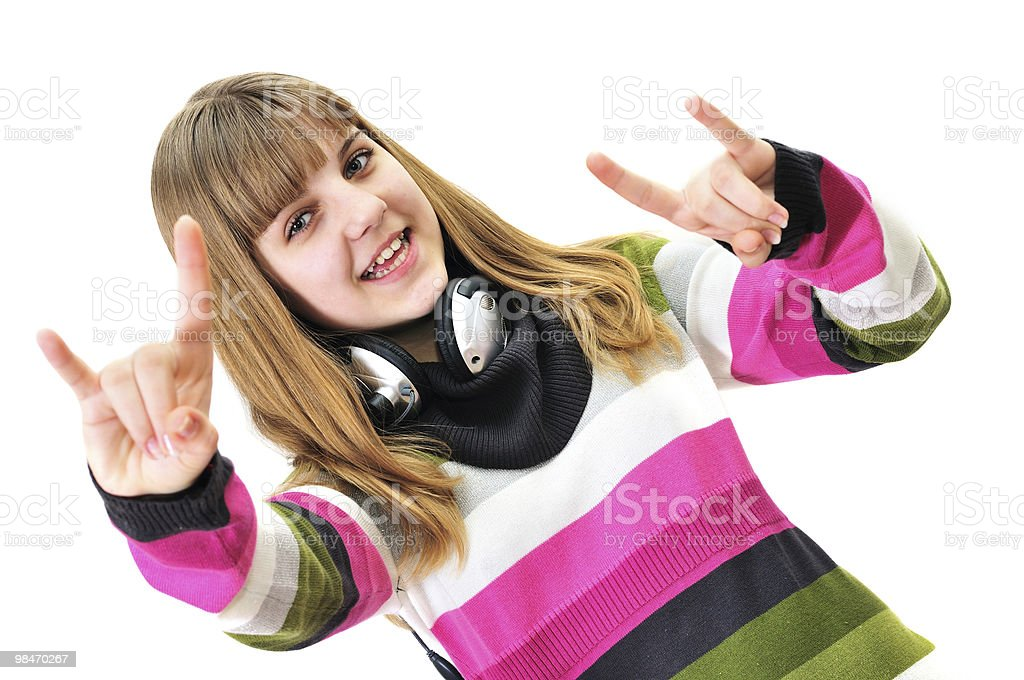 teen girl rock out over the white royalty-free stock photo