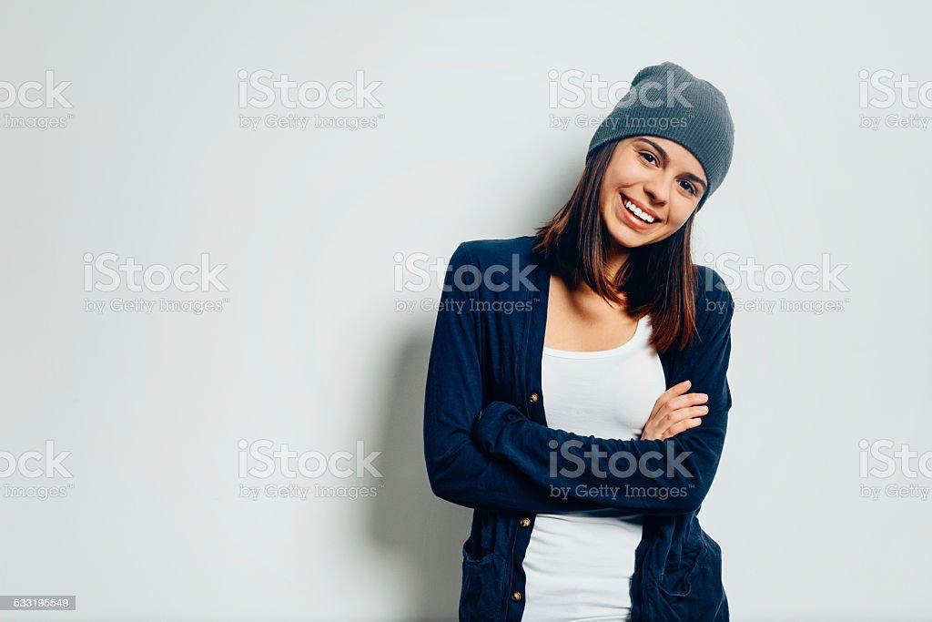 Teen girl smiling portrait stock photo