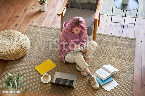 Hipster teen girl school college student pink hair studying online on laptop writing video conferencing sitting in cozy room on floor working learning in internet watching elearning webinar. Top view