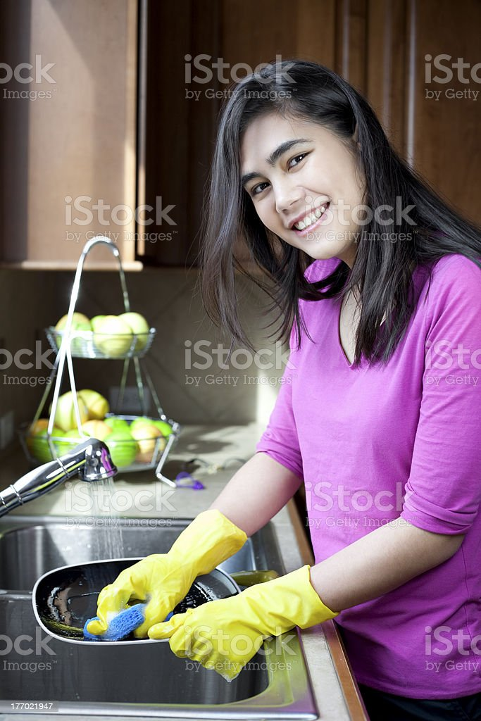 Teen Girl Washing Dishes At Kitchen Sink Stock Photo Download Image Now Istock