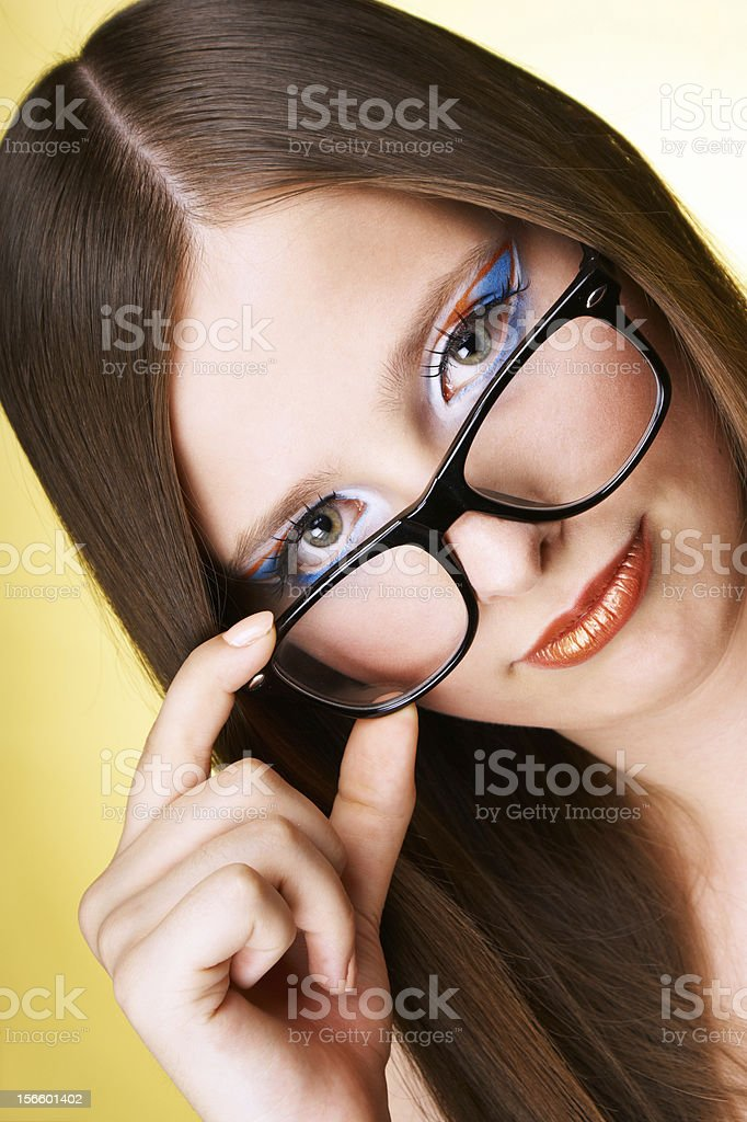 Teen girl wearing glasses royalty-free stock photo