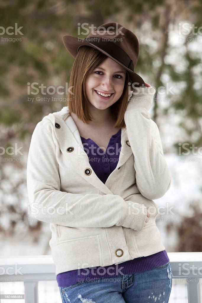 Teen Girl Wears Fedora Hat royalty-free stock photo