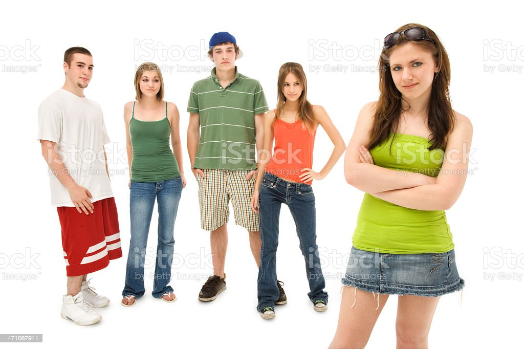 Teen Girl with Friends royalty-free stock photo