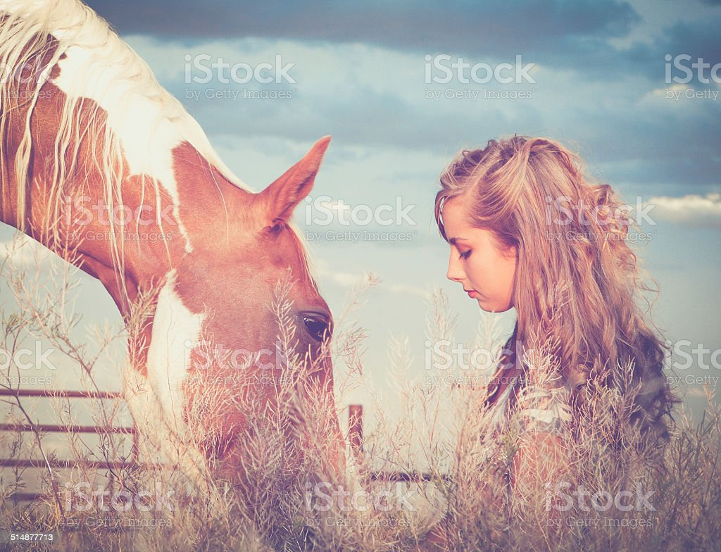 Teen Girl With Horse on a Montana Ranch stock photo