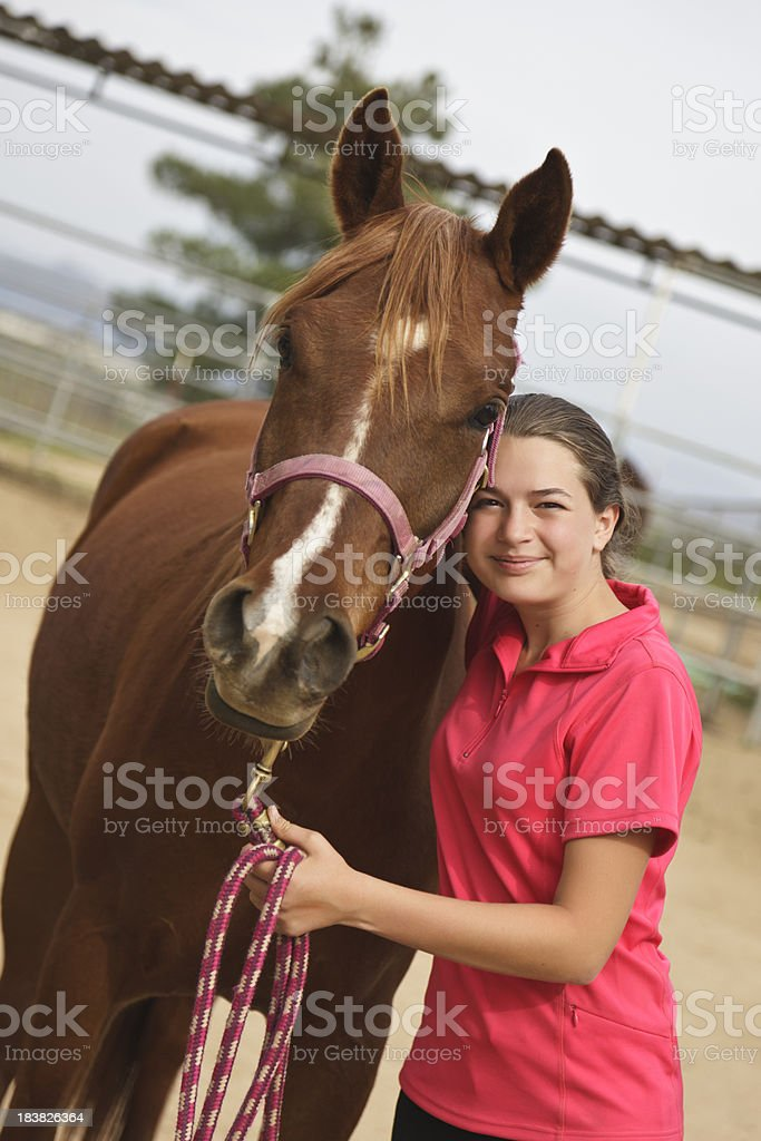 Teen Girl With Horse royalty-free stock photo