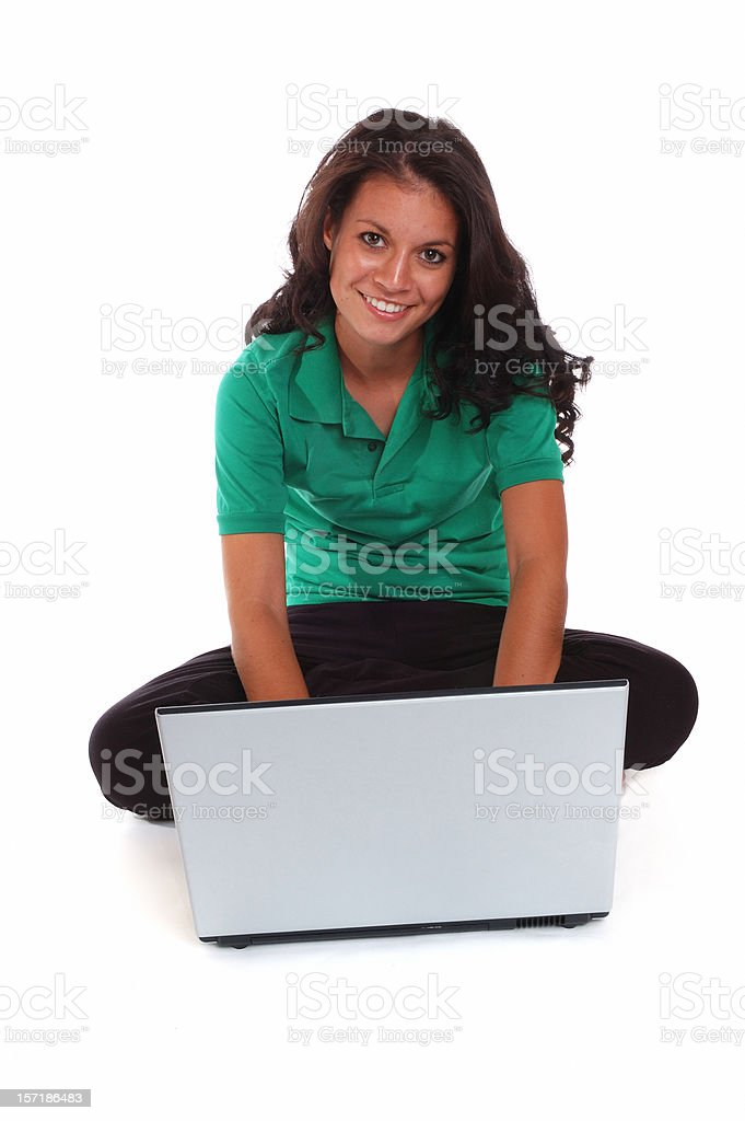 Teen Girl With Laptop Computer royalty-free stock photo