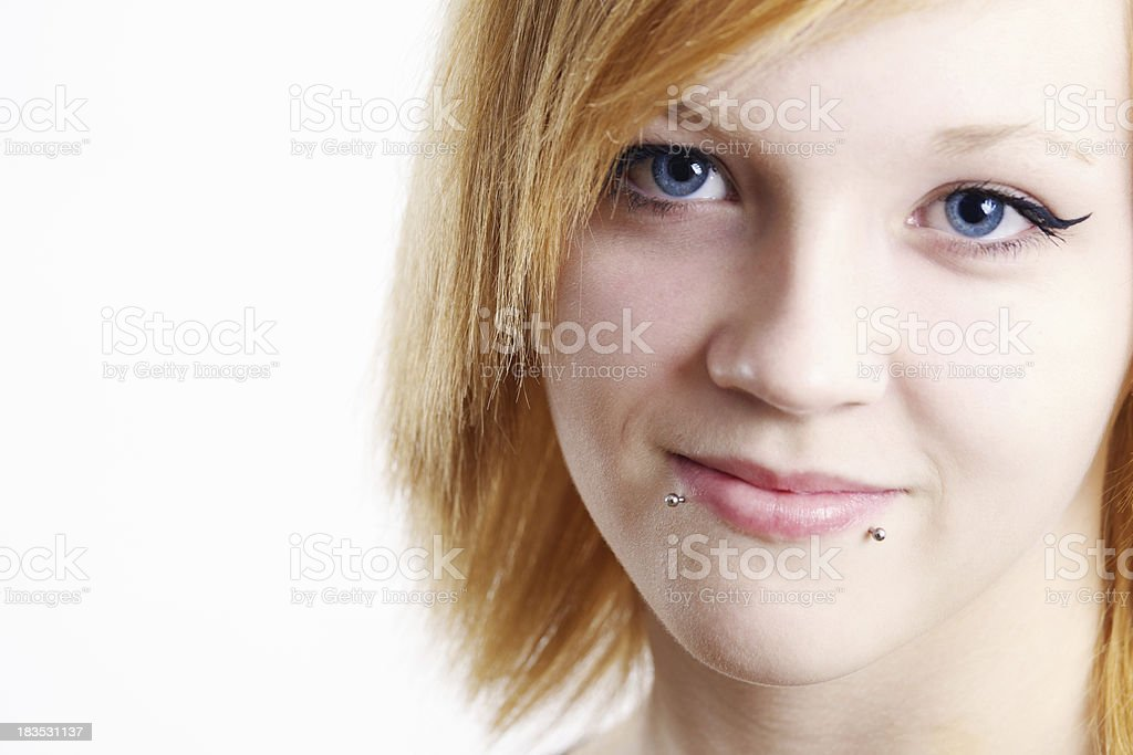 Teen girl with piercings royalty-free stock photo