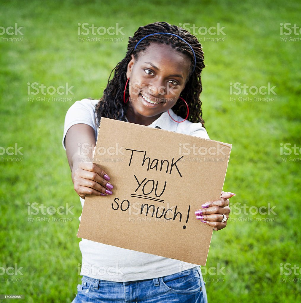Teen Girl with Thank You Sign royalty-free stock photo