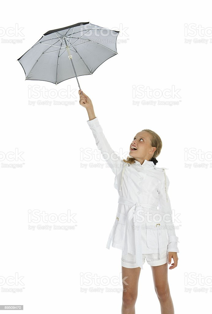 Teen girl with umbrella royalty-free stock photo